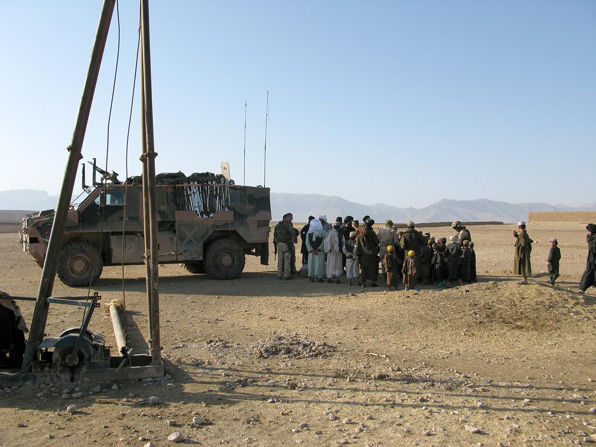 Patrol in Seyyedan inspecting the progress on a water well project.