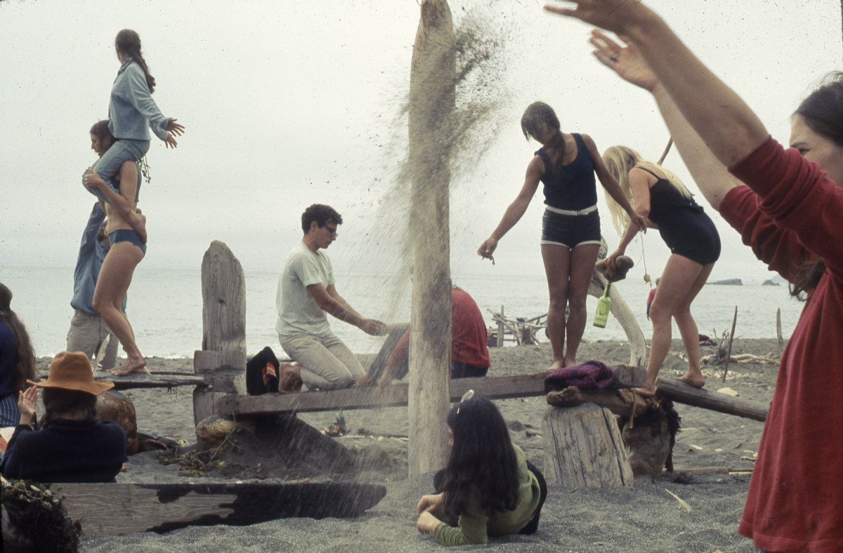 """POLITICS OF THE BODY: """"Driftwood Village—Community,"""" Sea Ranch, CA. Experiments in Environment Workshop, summer 1968."""