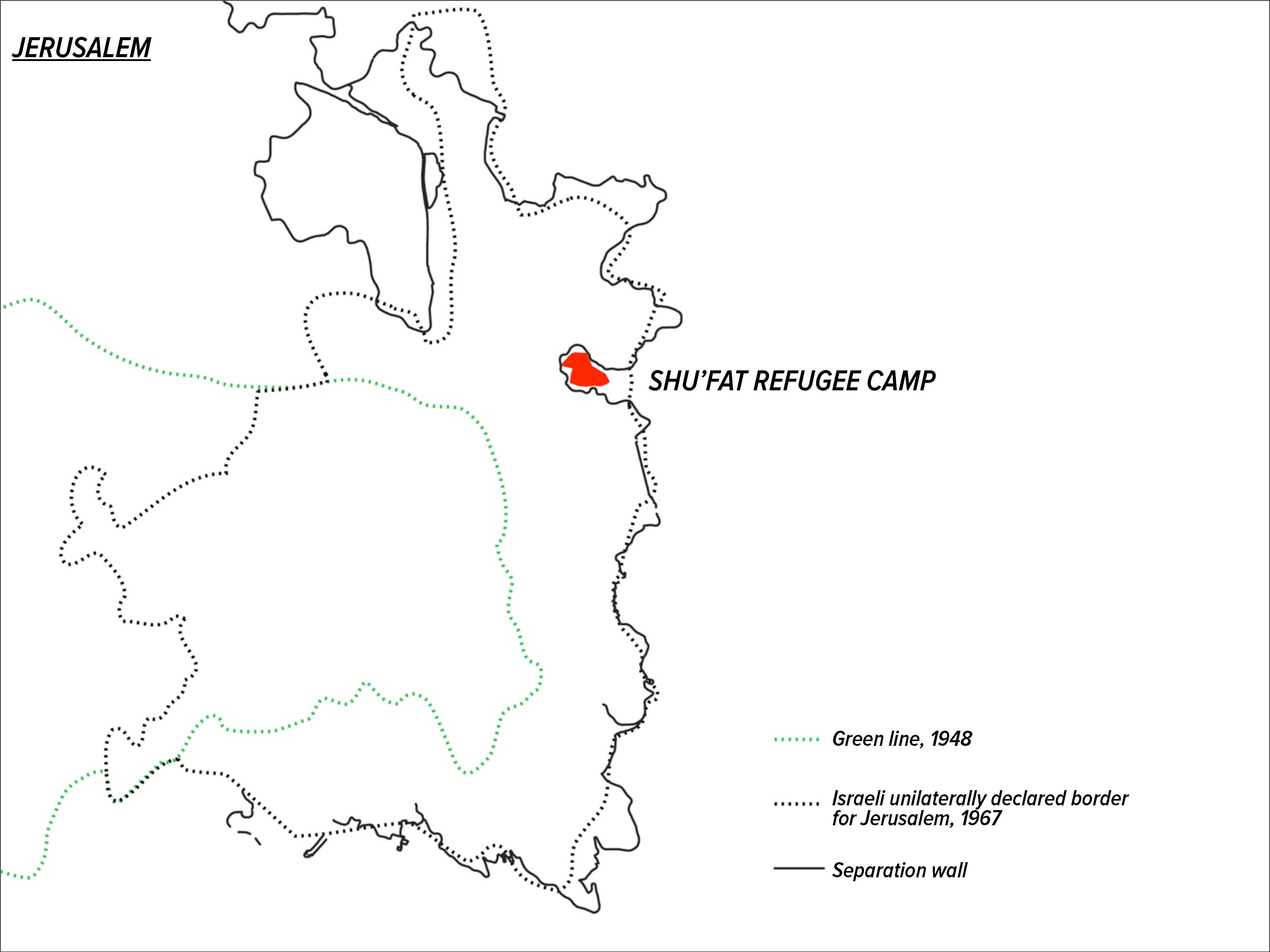 Geopolitical location of Shu'fat refugee camp