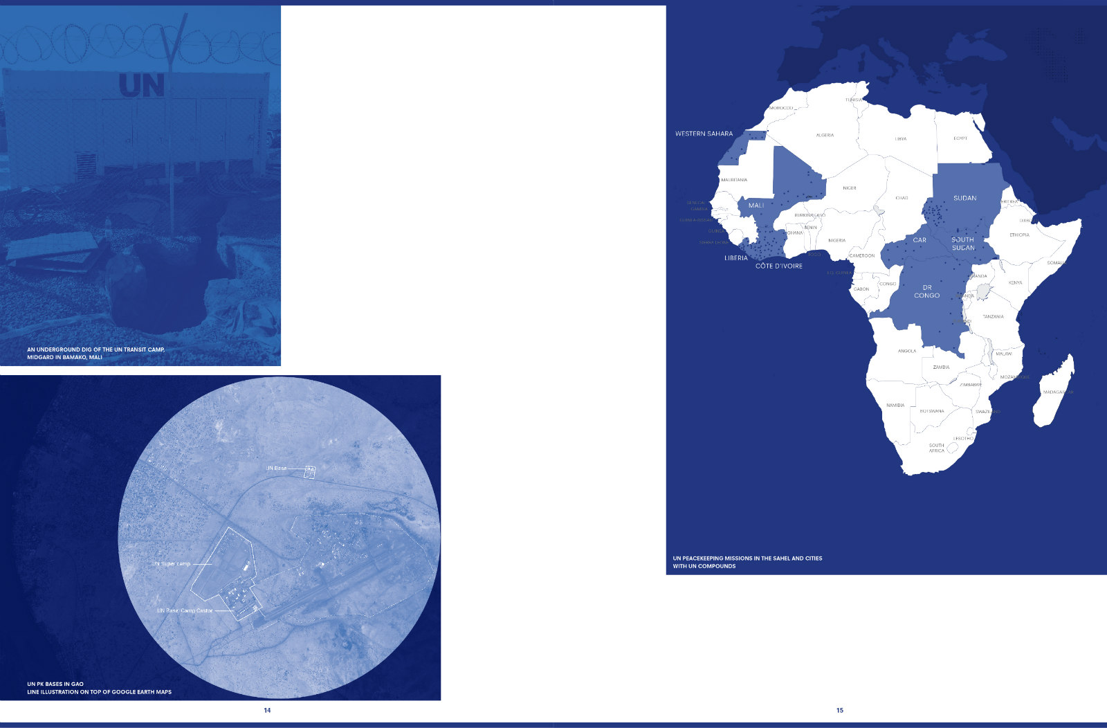 Spread from BLUE: Architecture of UN Peacekeeping Missions. Design: Irma Boom and Julia Neller
