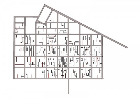 Diagram showing the fine grain of laneways in Melbourne's downtown area.
