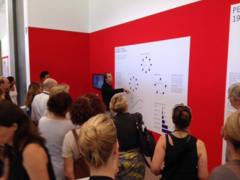 Volume's editor-in-chief Arjen Oosterman giving a tour of the exhibition