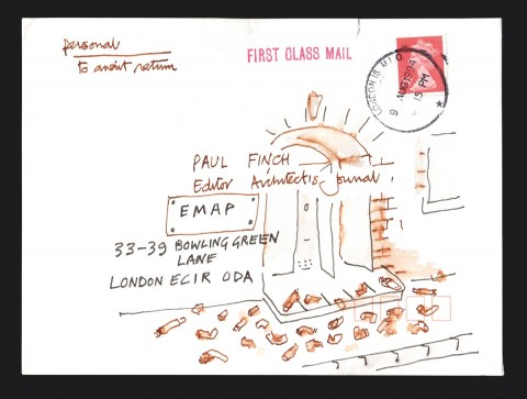 Envelope from Cedric Price, from the private archive of Paul Finch