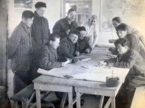 POST-INDEPENDENCE MODERNIZATION: Piotr Zaremba and collaborators in North Korea, winter 1954/55. Courtesy of the Zaremba Family.