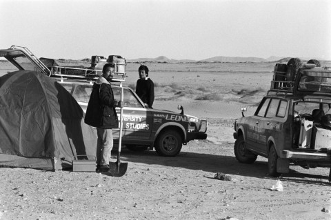 POSTWAR MODERNIZATION LABS IN THE EAST: Hiroshi Hara's students, Kengo Kuma in back, with equipment for village surveys in Africa. Courtesy of Kengo Kuma.