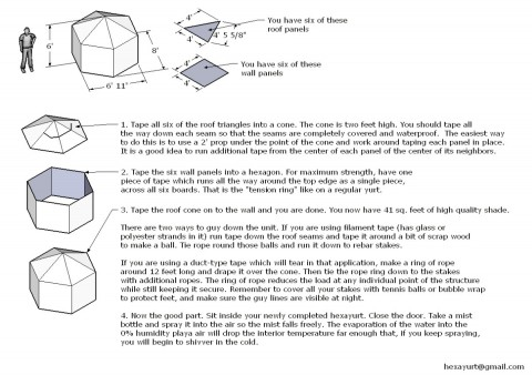 "How to built a 6"" hexayurt (source: howtolivewiki.com)"