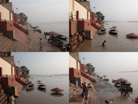 Dynamic change of water levels at the Meer Ghat, Varanasi, Uttar Pradesh. Clockwise from the top left: October 11-14, 2005. Photo: Anthony Acciavatti.