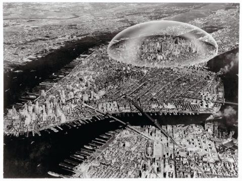 Buckminster Fuller and Shoji Sadao Dome Over Manhattan - Control: The invisible dome over the city can disconnect it form its environment and protect it from the evils of the atmosphere.