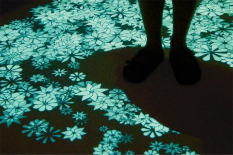 Daisies (2005) is an interactive installation where players dance through projected dasies.