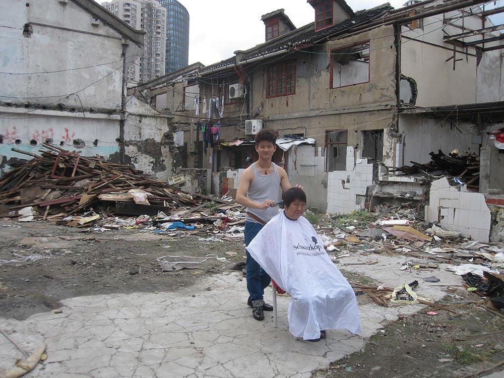 Temporary housing in run down neighborhood waiting for demolition