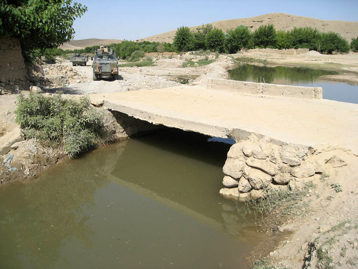 Infrastructure rehabilitation was important for a number of reasons; military logistic between Forward Operations Bases (FOBs) and the reach of operations, improved connectivity as means to deliver economic development of communities, and improvements for agricultural production. A wide range of bridges were facilitated.