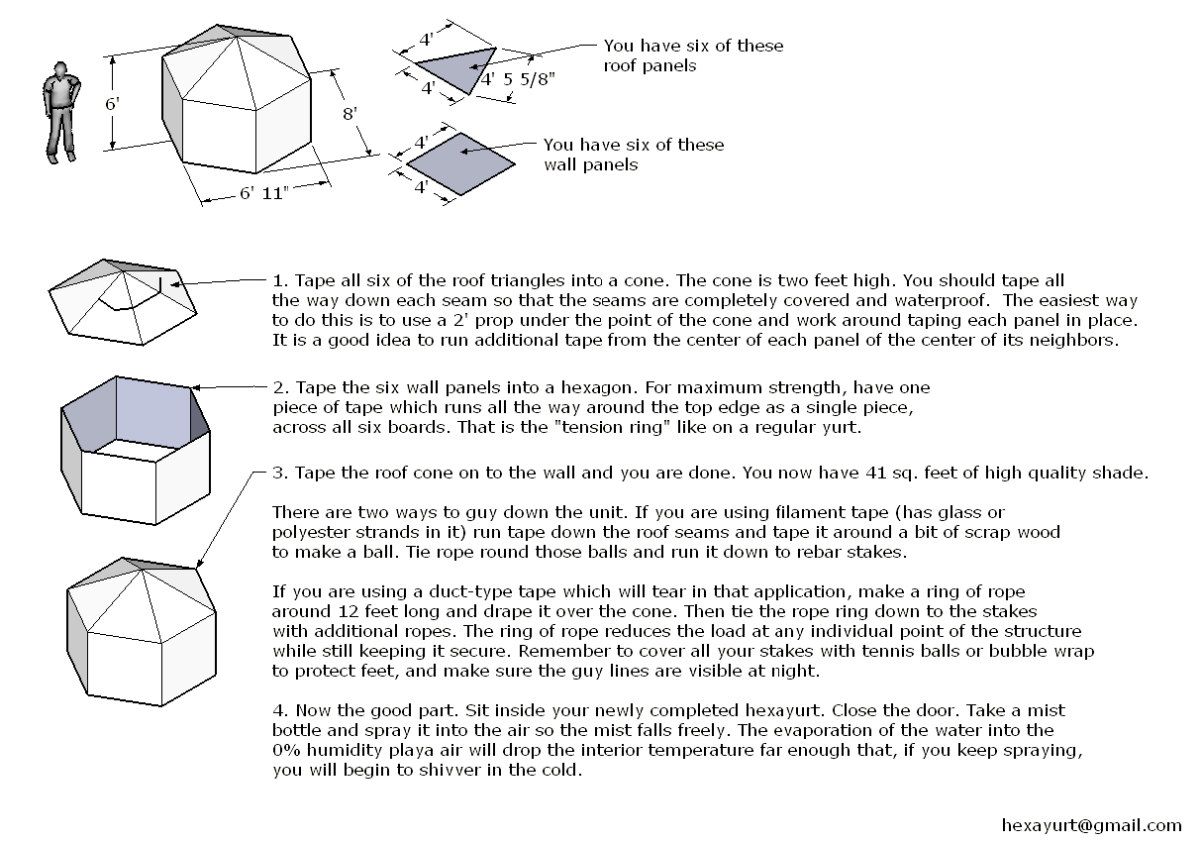 """How to built a 6"""" hexayurt (source: howtolivewiki.com)"""