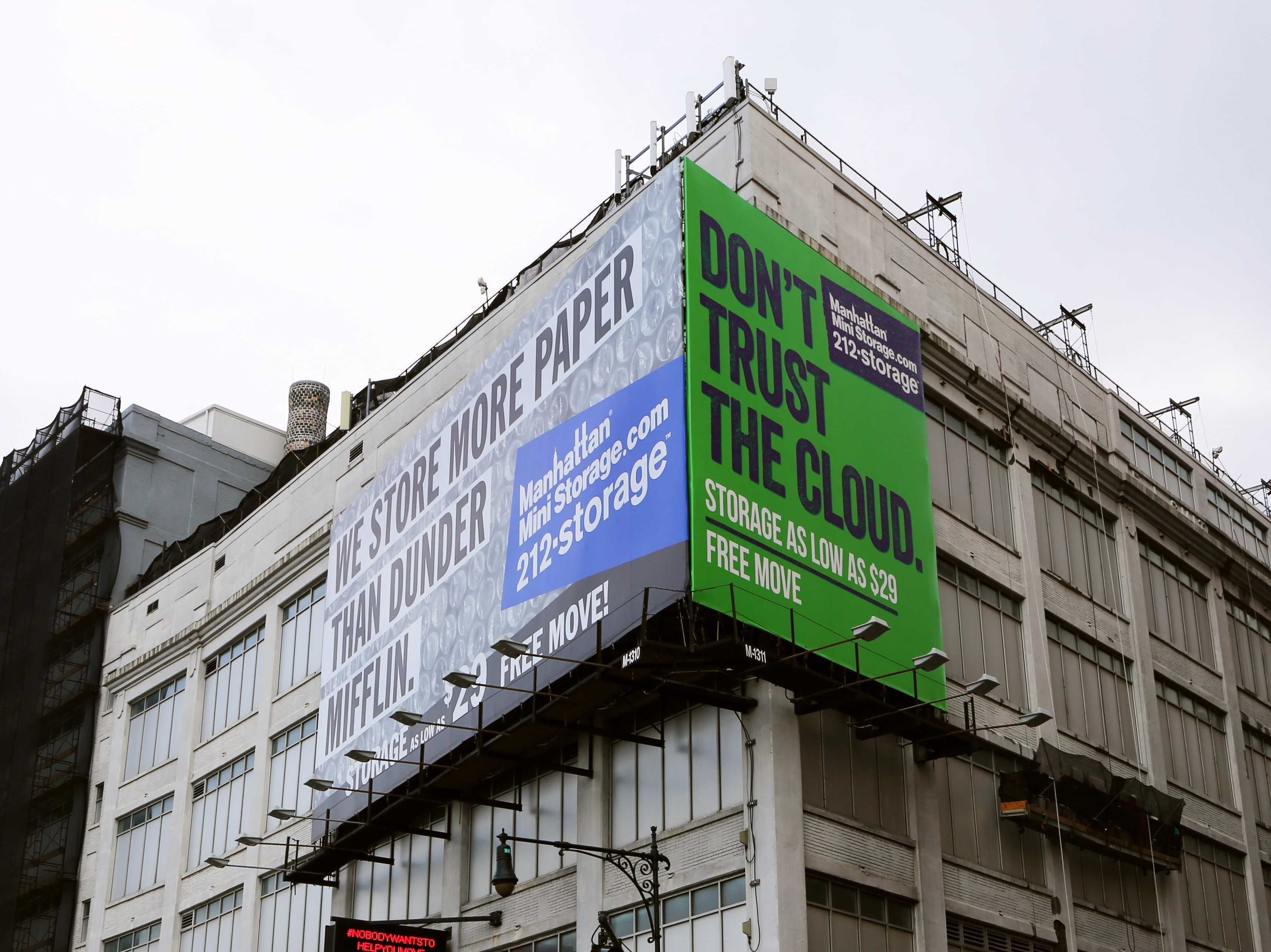 """A billboard advertisement for Manhattan Mini-Storage. The green background and mention of """"the cloud"""" is a direct reference to MakeSpace. Via Business Insider & MakeSpace"""