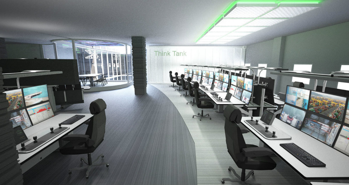 Rendering of a port terminal's control room for remote operations, designed according to the 'operator in focus' principles Source: ABB