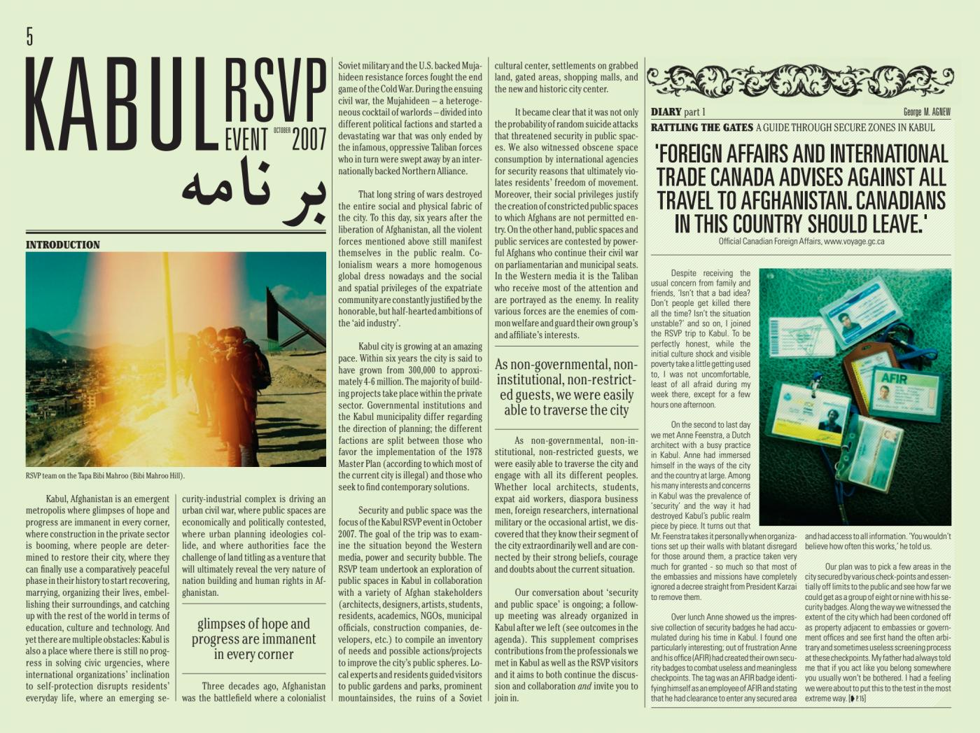 PDF's on RSVP Kabul and Naples